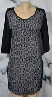 NYC NEW YORK & COMPANY Black Gray Snakeskin Print Dress Small 3/4 Sleeves