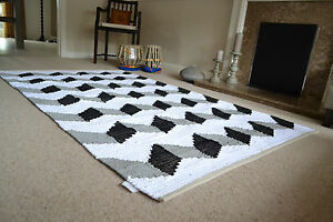 ZigZag Rug Soft Cotton Funky Black White Grey Hand Made Woven 120x180cm 6x4ft