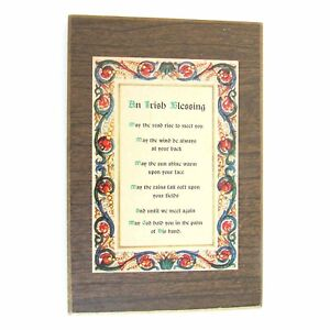 """OLD IRISH BLESSING May The Road Rise VTG Wood Wall Hanger Plaque 4x6"""" FREE SH"""