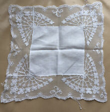 Antique Lace Handkerchief Cotton Lawn Silk Tulle Tambour Lace Embroidered Edge