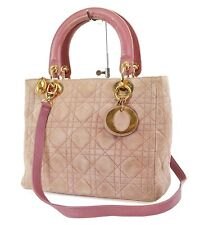 Authentic CHRISTIAN DIOR Purple Quilted Suede Lady Dior Handbag Purse #37451