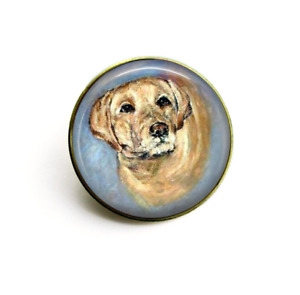 Handmade Gold Tone Labrador Dog Art Glass Brooch