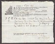 13582 - Frankreich, Schiffs-Fracht-Brief aus 1827, mit Motiv: Segelschiff.