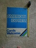 Antique Vintage American Express Metal 2 Sided Sign, Man Cave Decor, circa 1989