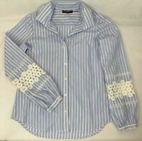 Karl Lagerfeld Women SP Striped Career Shirt Button Down Long Sleeve Lace Insert