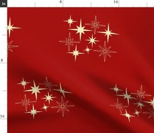 Mid Century Atomic Stars Red Star Galaxy Spoonflower Fabric by the Yard