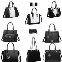Ladies Women Fashion Designer PU Leather Handbag Tote Shoulder Black Bag