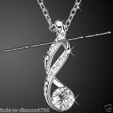 Twisted Clear Crystal Diamond Necklace Love Girl Wife Women Xmas Gift For Her