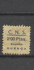 8085-SELLO 1938 C.N.S. FALNGE HUESCA 2 PESETAS -LOCAL SPAIN CIVIL WAR.ESPAÑA
