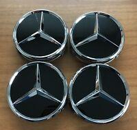 4 Mercedes-Benz Embleme Nabenkappen Nabendeckel Felgendeckel Orginal Schwarz TOP