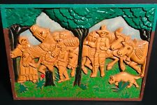 Naive Folk Art Carved Painted Pilgrims&Oxen in Woods Plaque,Western Pennsylvania