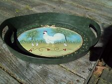 Rare Shape Med Vtg Antique Oval Tole Tin Tray Handled Hand Painted Chickens