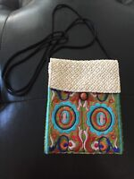 Handmade Woven Embroidered Purse Crossbody Pouch w/ Wood Bead Ethnic Boho Floral