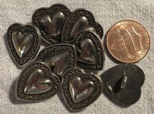 """8 Dark Silver Tone Metal Shank Heart Buttons Shiny Domed Center 11/16"""" 17mm 8224"""