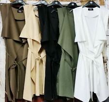 Cool Women Sleeveless Long Waistcoat Cardigan Lapel Coat Blazer Jacket Vest S-XL