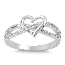 Sterling Silver CZ Heart Infinity Love Knot Fashion Promise Ring Band Size 4-10