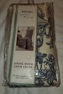 New Waverly Garden Toile Blue & Cream Floral Dining Room Chair Cover