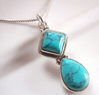 Turquoise Teardrop and Square 925 Sterling Silver Pendant Corona Sun Jewelry