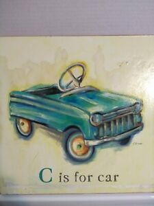 C is for Car Blue Convertible Wall Art Catherine Richards Nursery Kid Room
