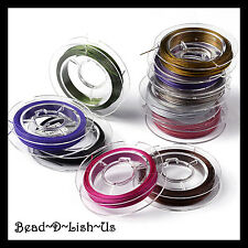 100 metres 10 Rolls x 10m 0.45mm TIGER TAIL WIRE Beading jewellery Mixed Colours