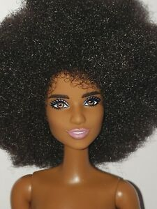 NEW  BARBIE NUDE Doll AFRICAN AMERICAN  WITH AFRO & BLUE EYE SHADOW