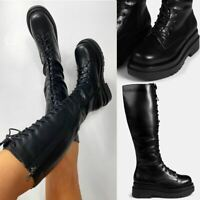Womens Ladies Lace Up Knee Boots Calf High Shoe Grunge Chunky Sole Size Zip New