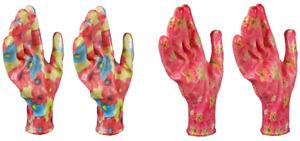 Women's Gardening Work Gloves 2 Pair Pink Floral Garden Flowers Nitrile Coated