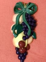 """Vintage Home Interior Burwood Fruit Wall Hangings Dated 1995 9""""x 4"""" Tall"""