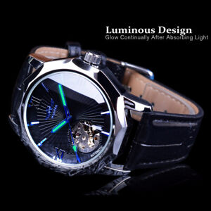 Mens Automatic Mechanical Waterproof Luminous Leather Strap Casual Wrist Watches