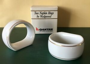 QANTAS AIRLINE  TWO NAPKIN RINGS BY WEDGWOOD  - BOXED
