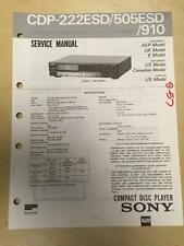 Sony Service Manual for the CDP 222ESD 505ESD 910 CD Player ~ Repair   mp
