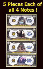 SET USA Fantasy 20 notes 2004, Turtle, Manatee, Tiger, Panda, Endangered Species