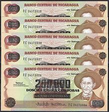NICARAGUA - LOTE LOT  5 BILLETES x  200000 ON 1000 CORDOBAS 1985  SC  UNC