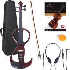 NEW 4/4 Ebony Electric Violin w/Pickup-Mahogany,Style-3