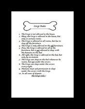 """Welsh Corgi """"Rules"""" Dog Art Print - Matted"""
