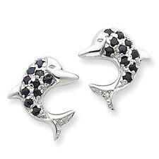 Sterling Silver Shappire & Diamond Dolphin Earrings