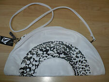 NEW VOLCOM HALF MOON ABSTRACT WHITE BLACK SHOULDER BAG PURSE CLUTCH CROSS BODY