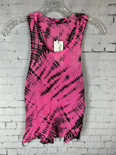 Emma & Sam SMALL DESIGNER MESH TANK TOP Womens PINK TIE DYE BLACK DISTRESSED J18