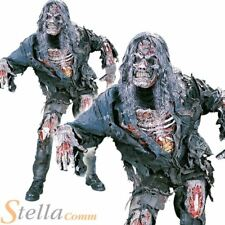 Mens Adult Complete Zombie Halloween Horror Deluxe Fancy Dress Costume + Mask