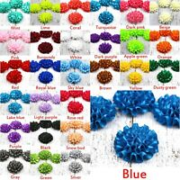"29 Colors 2"" Satin ribbon Peony Flower Appliques craft/DIY Wedding Sewing Decor"