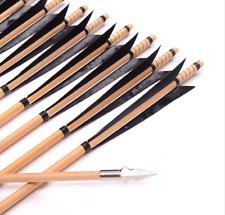 12pcs wood arrows England Turkey Feathers Broadhead hunting recurve bow long bow