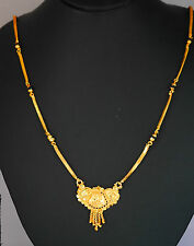 22 k ct gold plated MANGAL SUTRA asian 26 inch  chain necklace set. u34