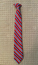 Boy's Clip On Tie Red & Blue Striped 15�