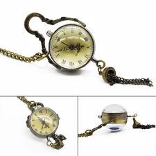 Classic Glass Ball Quartz Pocket Watch Gift Retro Roman Pendant Necklace Chain
