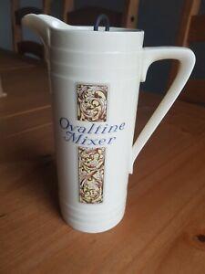 Vintage Ceramic Ovaltine Jug with Original Plunger ex Shop Display
