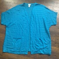 Chico's Open Sweater Short Sleeve Size 1 Small Blue Cardigan Top