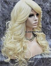 Long Wavy Layered Bleach Blonde Full Lace Front Wig Heat Ok Hair Piece #613 NWT
