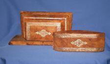 Antique Gilded Leather Desk Set Rocker Blotter & Paper Holder