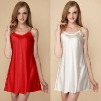 Lady Satin Full Slip Under Dress Petticoat Night Sleep Camisole Faux Silk Casual