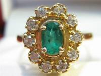 ESTATE 14KTSOLID GOLD TOP QUALITY EMERALD & DIAMOND LADIES RING